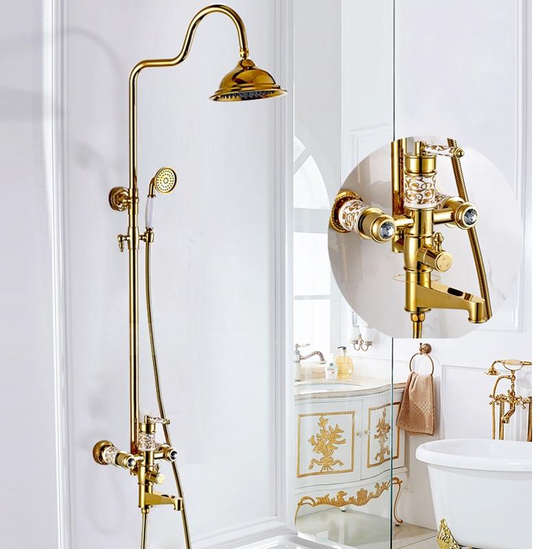 BAKALA robinet de douche mural en laiton de luxe or robinet de baignoire rond pluie pomme de douche barre de poche salle de bain mélangeur robinet ensemble