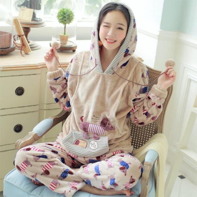 2016 new maternity pajama 100% cotton floral long sleeve nursing sleepwear breast feeding clothes maternity lounge and set