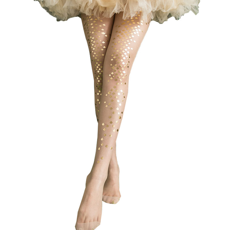 Yehury 15D Women Tights Gold Sliver Shiny Mermaid Flakes Stockings Ladies Faux Tattoo Female Hosiery Bikini Crotch Pantyhose