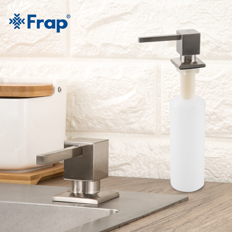 FRAP Liquid Soap Dispenser Brushed Nickel Metal Stainless Steel Kitchen Sink Bottle Built In Hand Soap Dispenser Pump