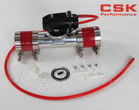 Black Aluminum Billet Anodized Type 4 SQV Blow Off Valve BOV +2 Flange Pipe +silicone +clamps +4mm vaccum hose red