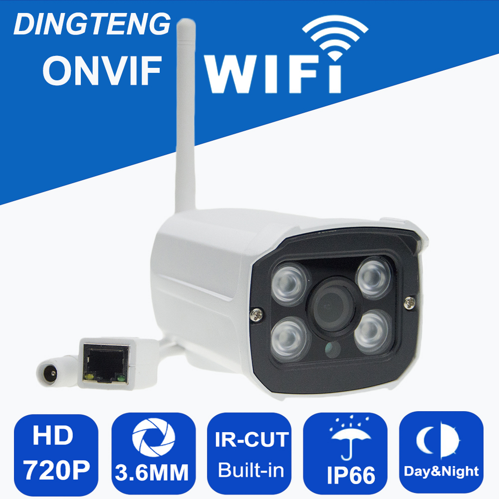 IP Camera WiFi 720P ONVIF Wireless Camara Video Surveillance HD IR Night Vision Mini Outdoor IP65 Security Camera CCTV System mini bullet wifi ip camera hd 720p onvif p2p ir outdoor surveillance night vision security cctv camera android phone