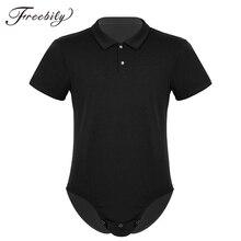 סקסי Mens בגד גוף קצר שרוול תורו למטה צווארון Snappies חולצה מפשעת בגד גוף Romper תחתונים