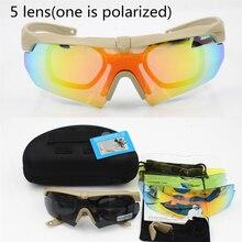 Spolaryzowane wysokiej jakości okulary przeciwsłoneczne TR 90 gogle wojskowe, 5 soczewek kuloodporne okulary taktyczne armii, strzelanie okulary