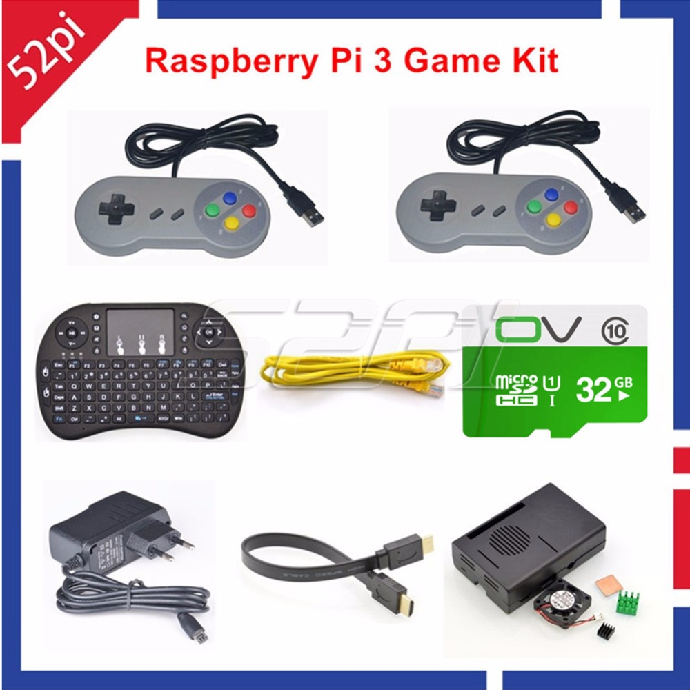 52Pi RetroPie Game Console Accessory Kit with 32GB SD Card and USB Controllers for Raspberry Pi, Not include Raspberry Pi Board стоимость