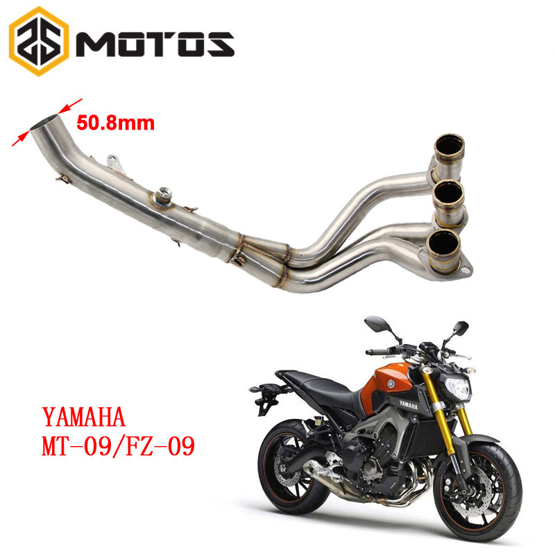 ZS MOTOS Motorcycle Exhaust Muffler Full System Exhaust Mid Connect Refit Motorbike Case For Yamaha MT-09 MT09 FZ-09 FZ09 цена