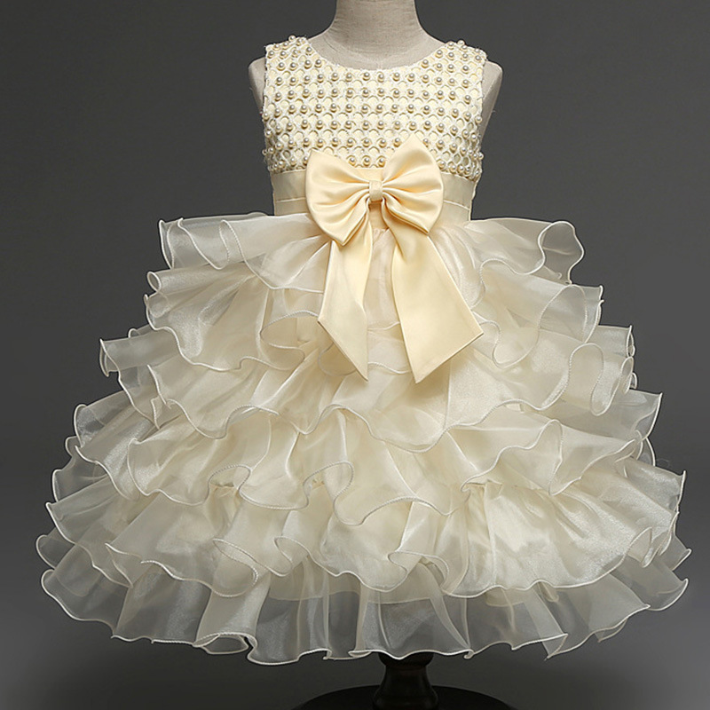 Hot Sale Girls Princess Lolita Dress Sleeveless Pearl Flower Dresses Summer Tutu Wedding Birthday Dresses Children's Costume