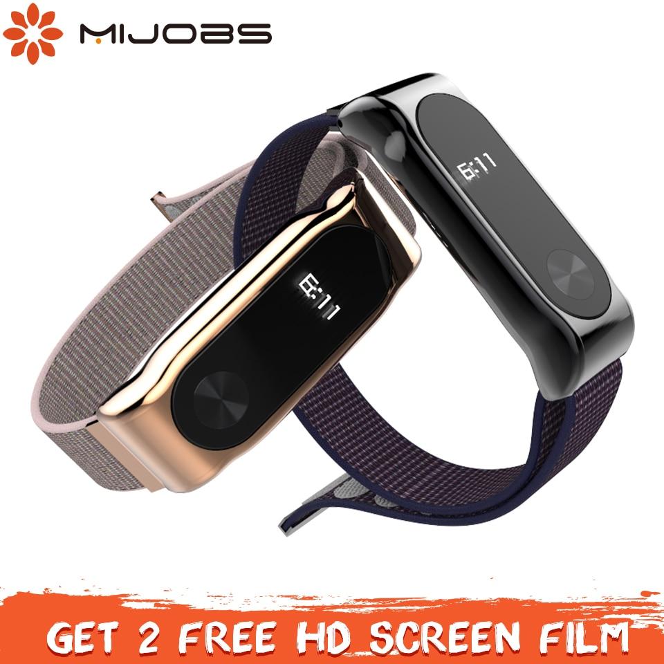Mijobs Mi Band 2 Strap Sport Nylon Loop Wrist Strap For Xiaomi Mi Band 2 Wristband Smart Watch Band For Mi Band 2 Strap Bracelet