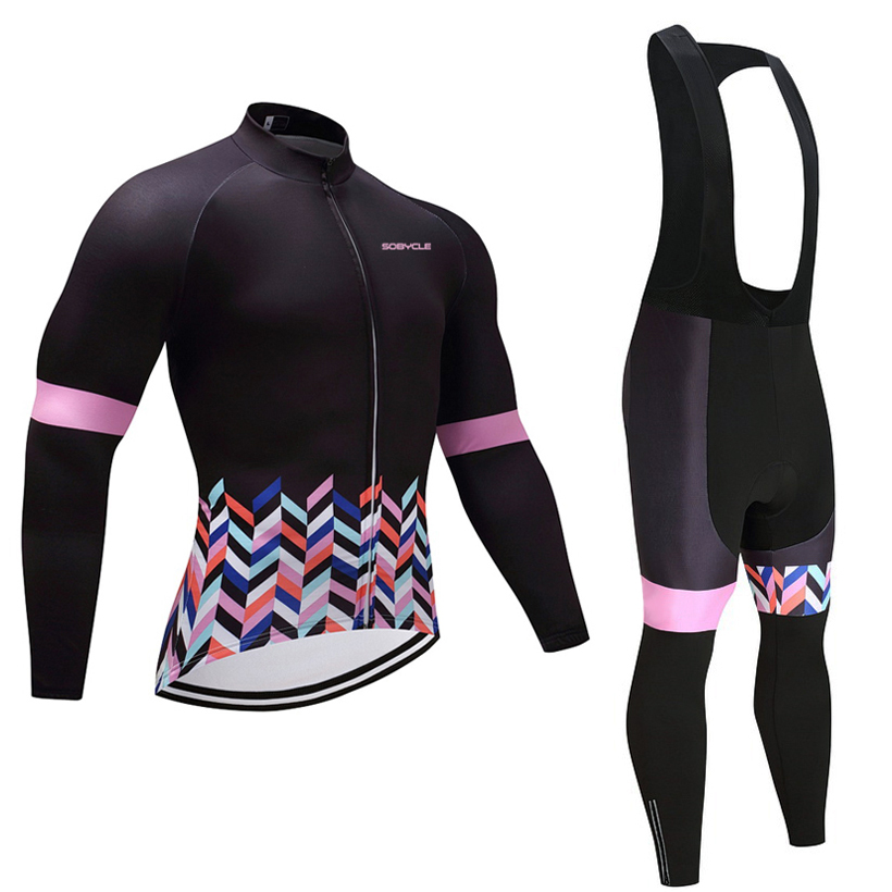 2018 Winter women cycling pro jersey 9D gel pad bike pants set MTB Ropa Ciclismo female long sleeves bicycling Maillot wear 2018 pink ef team long sleeve cycling jersey 9d gel pad bike pants suit mtb ropa ciclismo pro bicycling maillot culotte wear