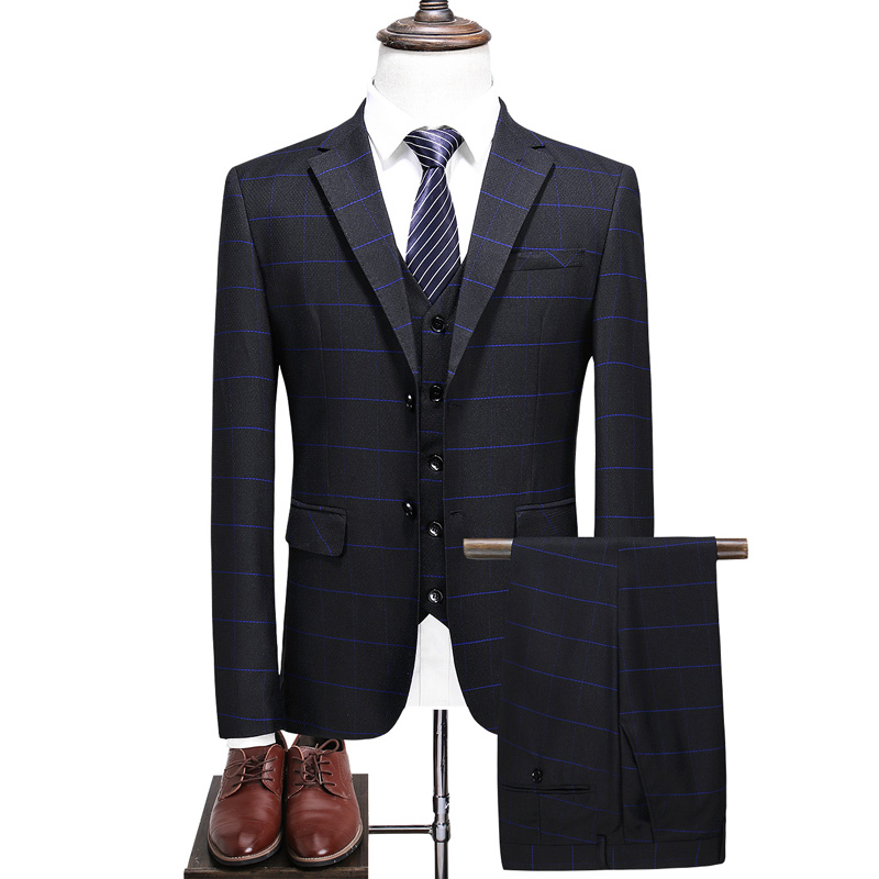 British style suit suit men's spring and autumn 2019 new (coat + vest + pants) high-end custom slim banquet dress 2019