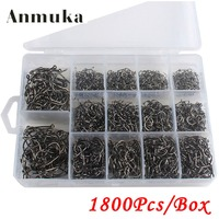Anmuka 1200Pcs 1800Pcs Carbon Steel Fishing Jig Hooks With Fishing Tackle Box 3 16 14 Sizes