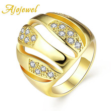Ajojewel Size 7-8 Golden Rings With Stones For Women Trendy Big Finger Ring Wholesale