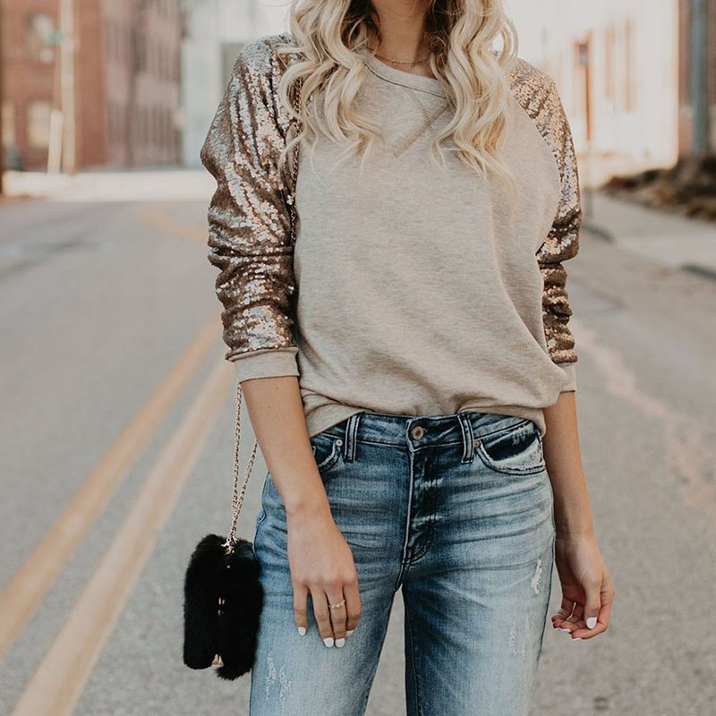 Women Fashion T Shirt Spring 2018 Long Sleeve T-Shirt Casual Loose Female Blusas Patchwork O-Neck Tops