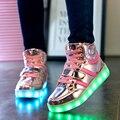 Meninos meninas 7 cores de alta-top led shoes para crianças brancas preto glowing light up shoes shoes chaussure plana levou luminosa crianças