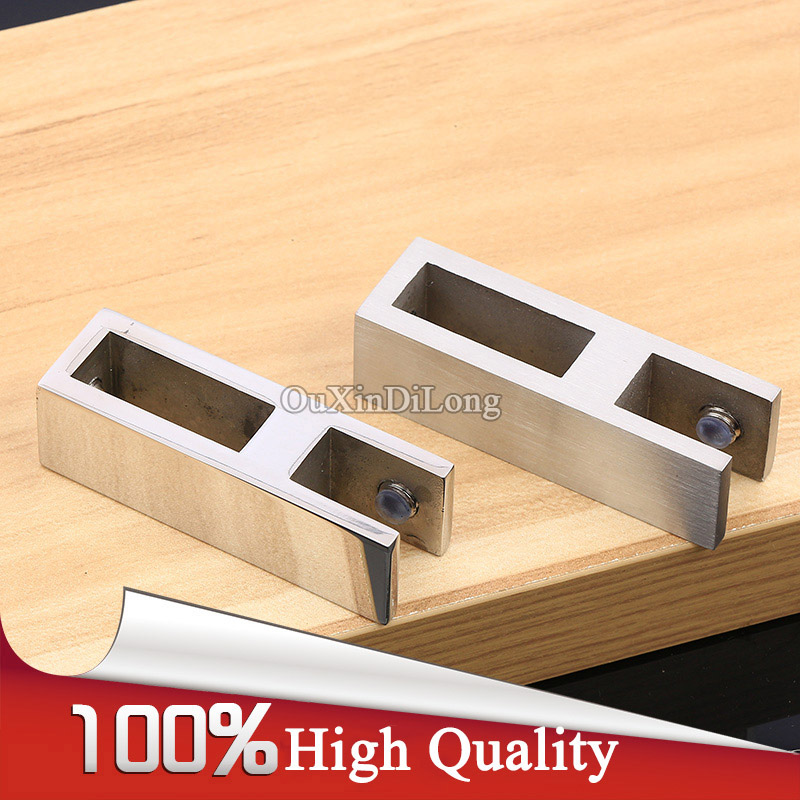 Brand New 2PCS 304 Stainless Steel Frameless Bathroom Shower Roof Square Pipe Hanging Clamps Clips Fixed Holder Brackets brand new brand new 2 x1 2 x2 female tee threaded reducer pipe fittings f f f stainless steel ss304 new high quality