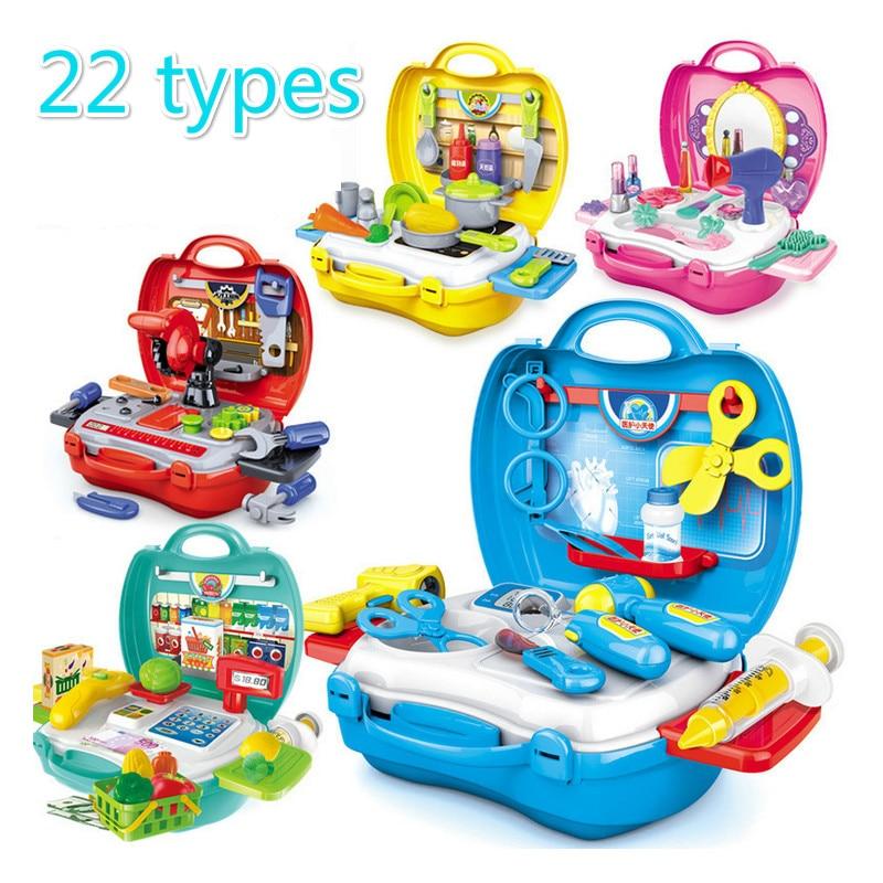 22 Types pretend Play Children simulation kitchen cooking tableware dressing cash register suitcase doctor Kids Plastic toy set