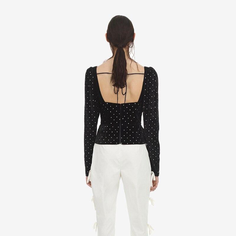 Backless Alta Crop Negro Otoño Vintage Collar Auto De Mujeres Primavera Nova Sexy Cuadrado Moda Diamantes Tops Retrato Las Calidad xSgqAnSZw