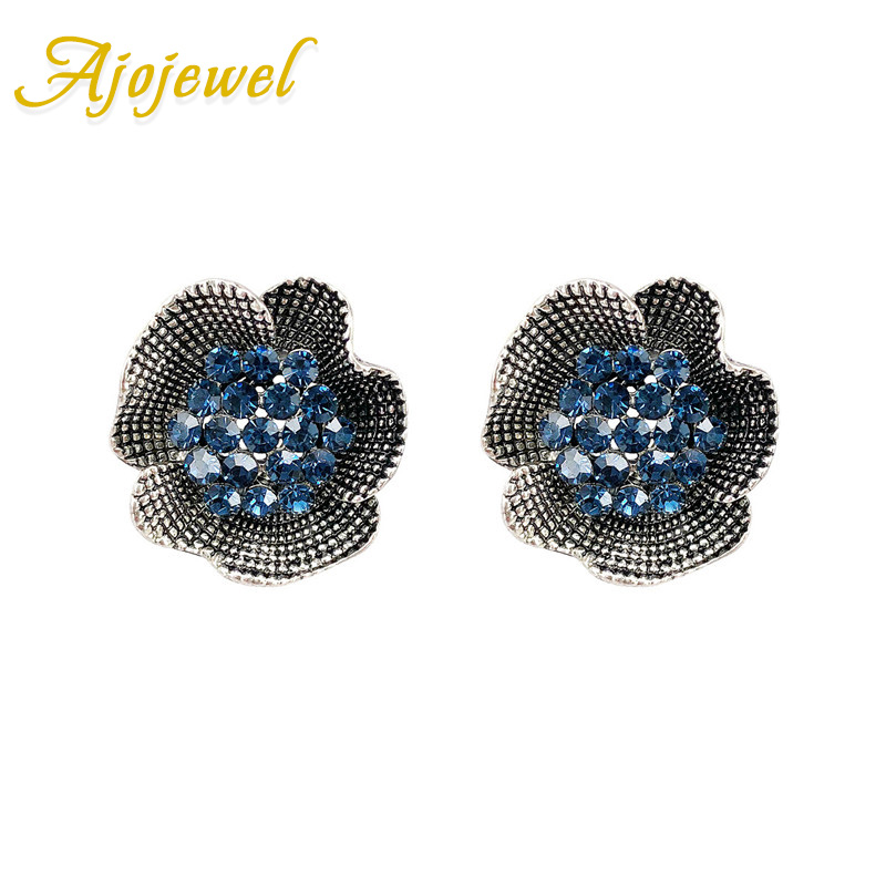 Ajojewel Women's Rhinestone Flower Clip On Stud Earrings Vintage Jewelry Elegant 2018 Dropshipping
