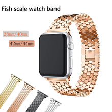 Stainless Steel Fish Scale Band for Apple watch strap 38mm/40mm/42mm/44mm Fashion Women and Man For Watch Bracelet 4321