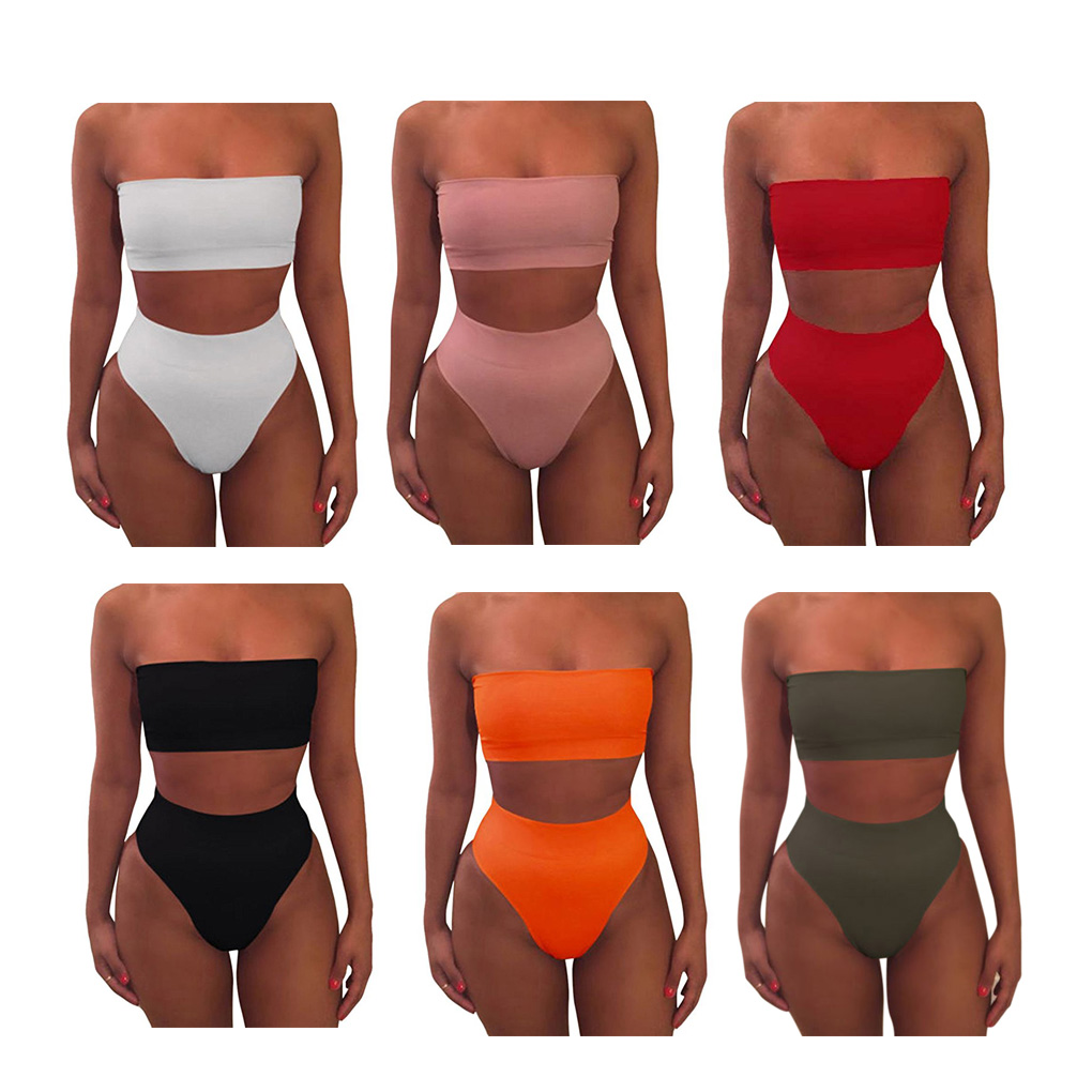 Solid Color Crop Bra Bikini Swimwear Swimsuit Beachwear Set For Women Girl