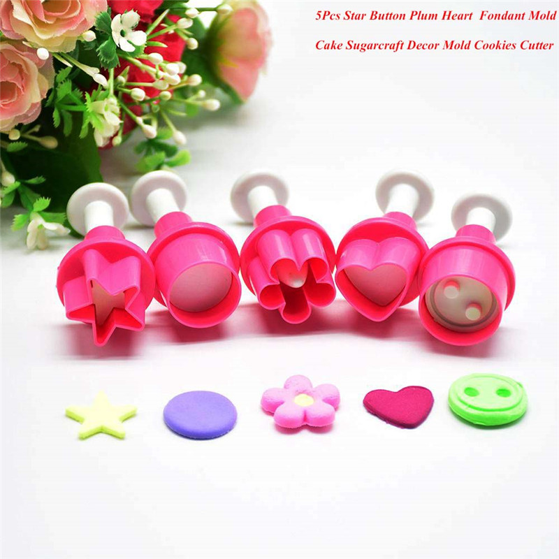 Fondant Cake Decorating Moulds Button Round Heart Flower Shape DIY Mold Embossing Cutter Cake Decoration Tools Cookies Cutter ...