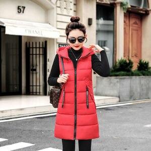 Image 2 - Vangull outono inverno colete feminino 2020 novo feminino sem mangas colete jaqueta com capuz quente longo engrossar casaco de algodão quente