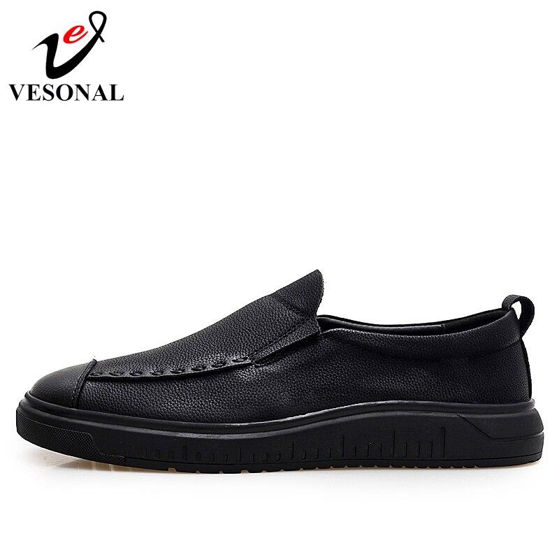 Business Homens Sólida 0094 Outono De Shoes 2018 Calçados Genuíno Vesonal Para Adulto Masculina Sapatos Slip Primavera Black Casual On Moda Marca Couro OqAH0
