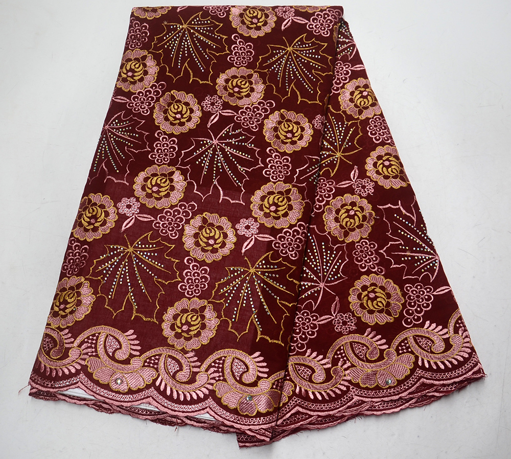 New Wine stones African Cotton Swiss Voile Lace Fabric High Quality Swiss Voile Lace In Switzerland Cotton African Lace FabricNew Wine stones African Cotton Swiss Voile Lace Fabric High Quality Swiss Voile Lace In Switzerland Cotton African Lace Fabric