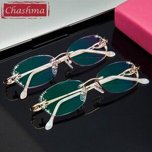 Image 5 - Chashma 브랜드 여성용 프레임 학위 안경 투명 안경 여성용 다이아몬드 색조 렌즈