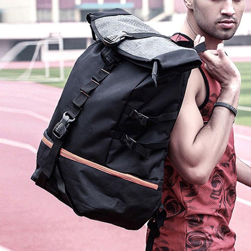 Sac à dos de Sport en plein air hommes grande capacité sac à dos de basket-ball Rugby randonnée Double sac à bandoulière ordinateur portable sac à dos formation Pack - 4