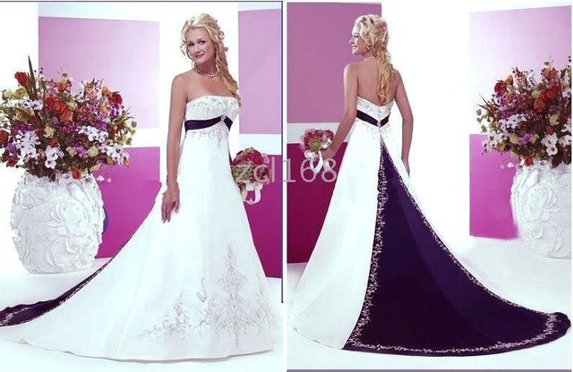 New Fashion Blue Purple White Red Accent Color Embroidery Beautiful Satin Wedding Dress