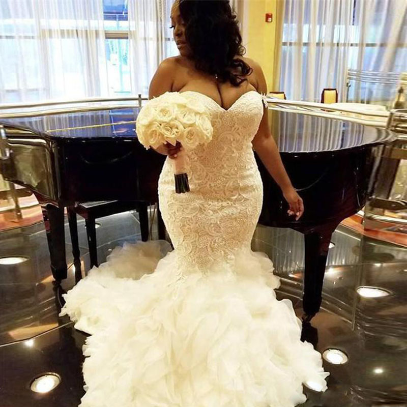 2018 African Plus Size Wedding Gowns Sweetheart Ruffles