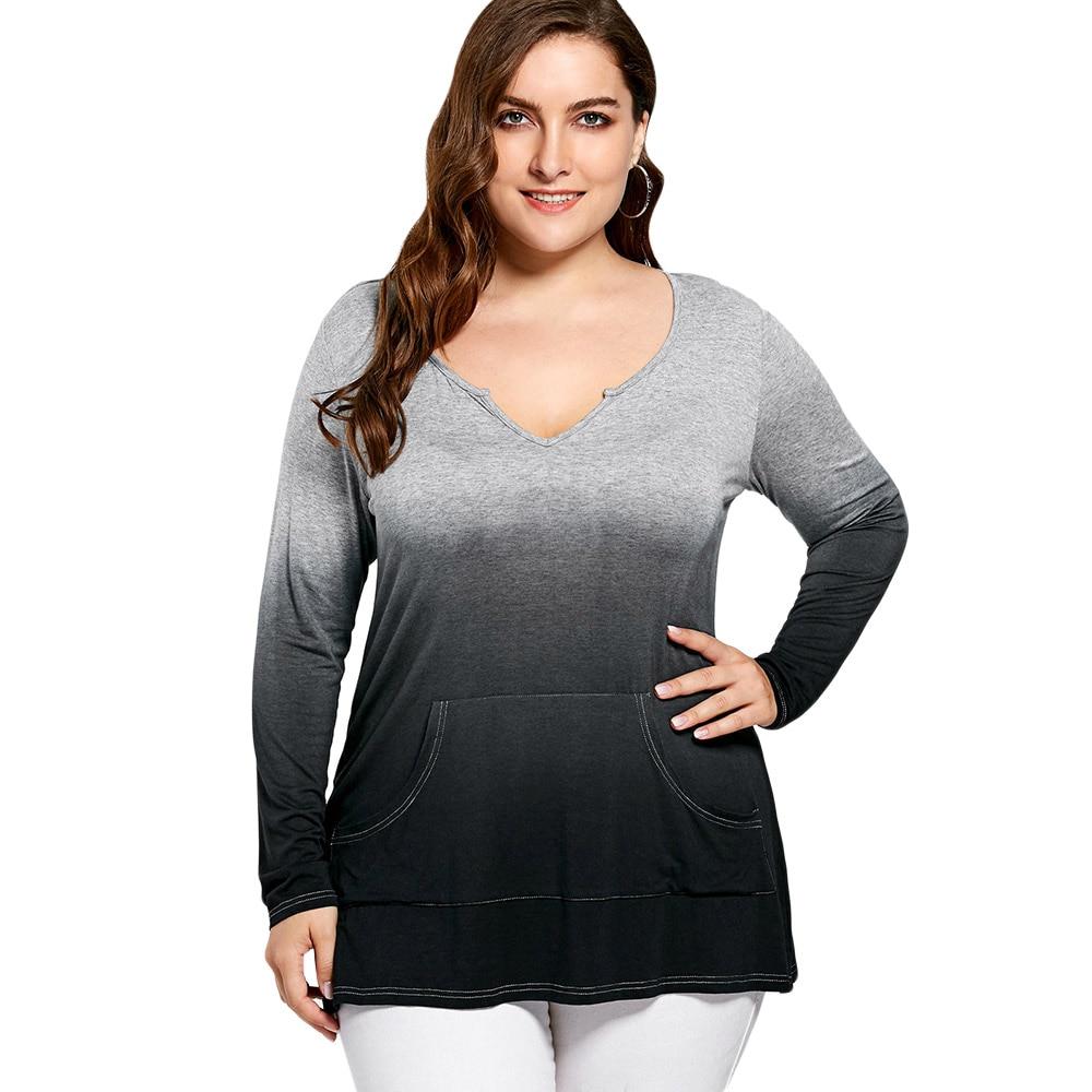 18fadedc695 Wipalo Autumn Winter Women Casual Big Size T-Shirt Kangaroo Pocket Long  Sleeve Ombre T-Shirt Loose Top Tees Plus Size XL-5XL