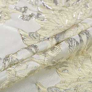 Fashion Milky white French jacquard yarn-dyed brocade fabric for dress coat patchwork tissus telas tecido tissu au metre tela