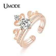 UMODE 2018 New Fashion Clear Zircon Crown Ring for Women Detachable Double Rings Rose Gold Color Anillo Mujer Moda Gift AUR0443A