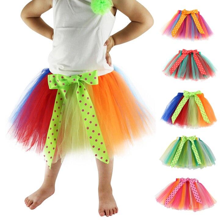 Юбка-купальник New 16 Design Красочные ручной работы выше колена Девушки юбка из тюля, балетная пачка, детская пачка, детская юбка