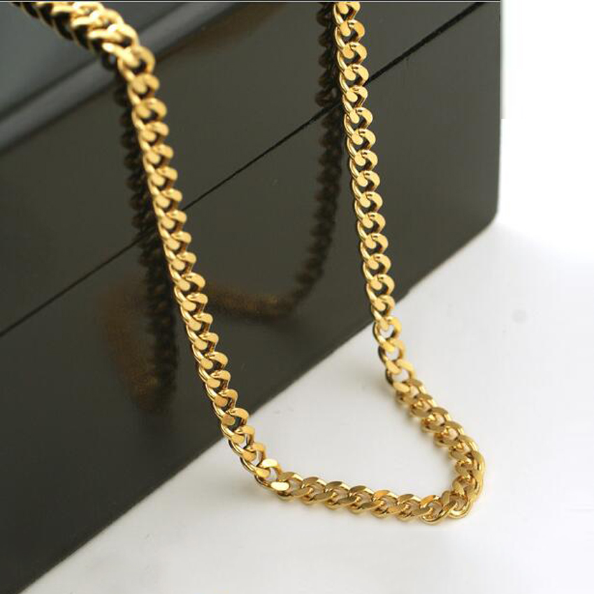 7MM GOLD COLOR CUBAN CHAIN NECKLACE 23 6 JEWELRY WHOLESALE