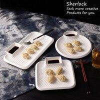 Emboss White Ceramic Dumpling Plate With Sauce Boat Porcelain Snack Plate Dish Ceramic Dinner Plate