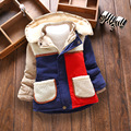 boys winter coat patch kids thicken cute clothing with velvet for children jacket detachable cap for baby kids age 1-4