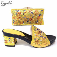 Nice Design Italian Slipper Shoes With Bag Set Latest Rhinestone African Women High Heels Shoes And Bags Set For Party TX 867
