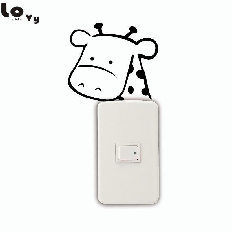 ᗗJirafa Linda etiqueta interruptor de dibujos animados animal ...