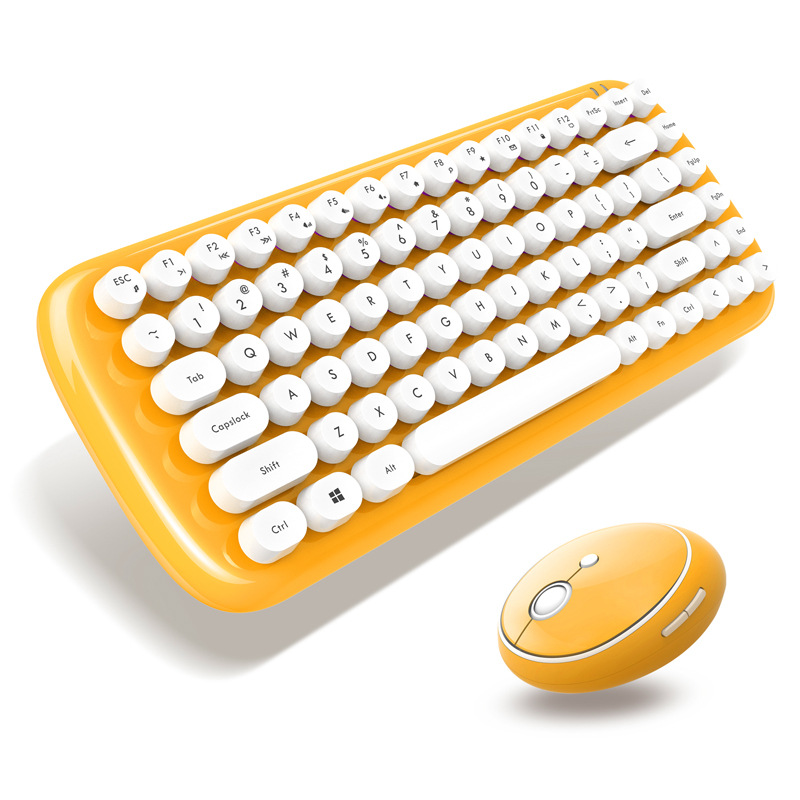 Hot Style Ferris Hand High-end Mini Candy Colored Frosted Wireless Keyboard and Mouse set Round Punk Bluetooth Keypad and Mouse