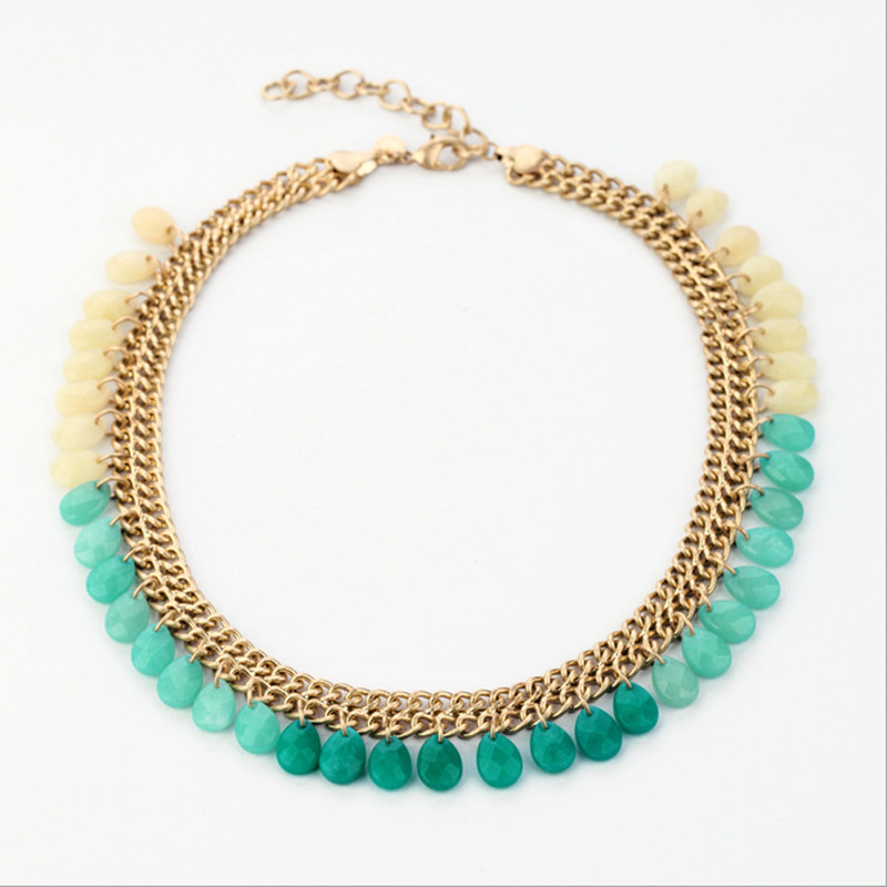 2018 Women necklace green stone crystal fashion sweater necklace choker top quality accessories for ladies