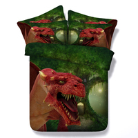 3D Dinosaur Bedding Sets Queen Size Duvet Cover Bed In A Bag Sheet Bedspread Linen California