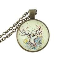 Veados cabochon de vidro colar de pingente de bronze antigo animal cadeia de jóias para as mulheres homens acessórios vida selvagem gargantilha atacado