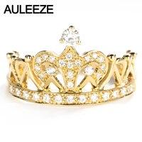 AULEEZE Vintage Natural Diamond Ring 18K Yellow Gold 0 3CT Round Cut Real Diamond Crown Wedding