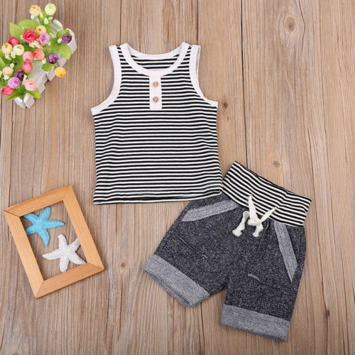 Hot Baby Toddler Kids Boy Casual Strap Clothes T Shirt Tee Top+Pants Outfits Set
