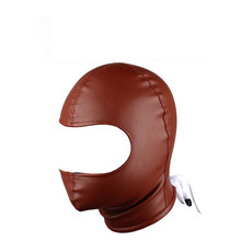 Sex Mask Fetish BDSM Leather Open Mouth Slave Hood Adult Products Toy Bondage Erotic Costume For Couple Men Women