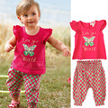Summer style Girls Fashion Butterfly casual suit children clothing set sleeveless outfit  new kids clothes set retail