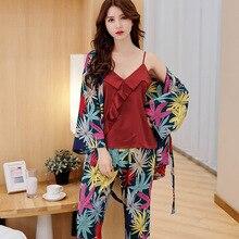 Daeyard ipek Pijama kadınlar için uzun kollu PJ seti çiçek baskı Robe pantolon 3 adet saten Pijama Pijama takım elbise gece giysi